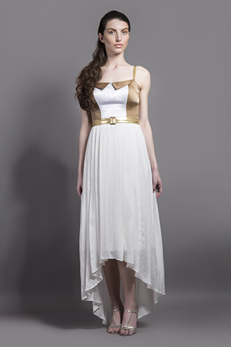 Buy White and Gold Collar Dress