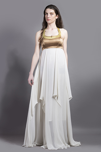 Buy White and Gold Triangle fall gown