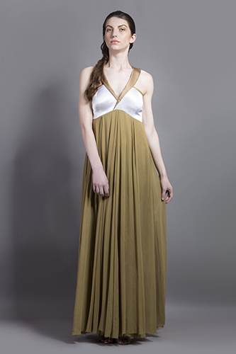 Buy White and Gold Lapel collar gown