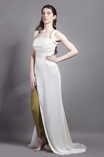 Buy White and Gold High slit gown with pants