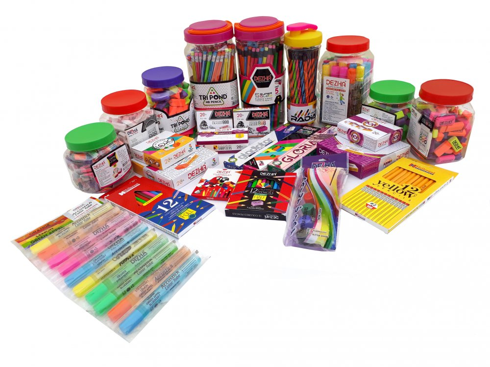 Office stationery products like Polymer (Eco-friendly) Pencils in black and color lead, Pencil Sharpeners, Erasers, Wax Crayons, Modeling Clay, Stationery Glue and other stationery