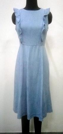 Cotton denim blue color dress