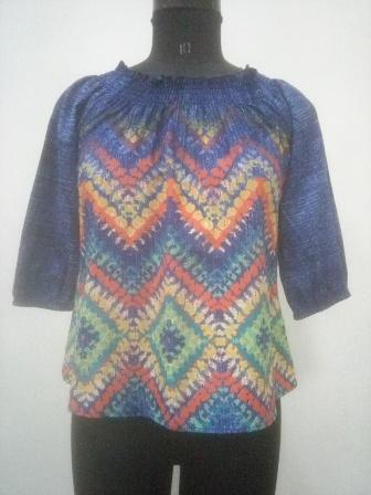 Purple color women top with multicolor print