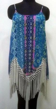 Multicolor with white border embroidered top