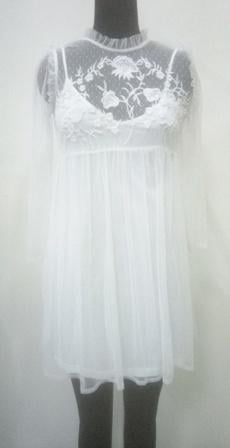 Buy White color women dress with net emboroidered