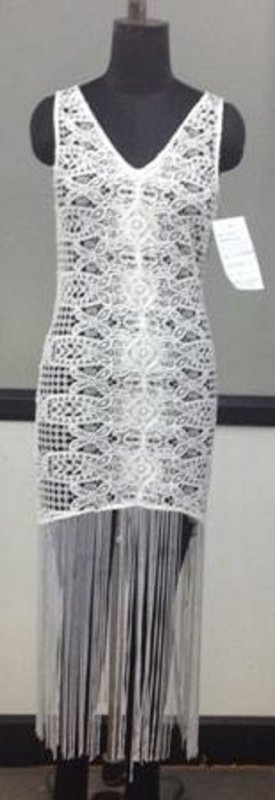 Net embroidered multi tassels women dress