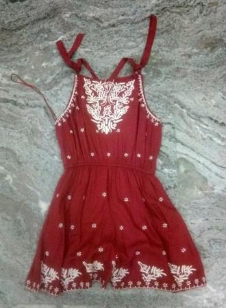 Buy Red Color embroidered women dress