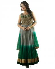 Designer Green/Grey Anarkali Suit