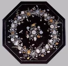 Black marble table Top with shell work