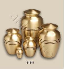Classic Bronze with Stripes Brass Cremation Urn
