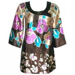 Satin Printed Tunic With Broach: A777