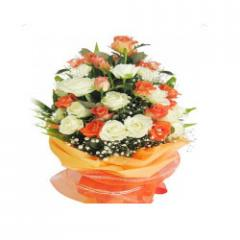 Orange And White Roses Bunches