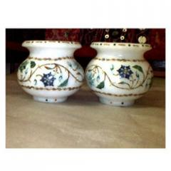 Marble Inlay Small Pots