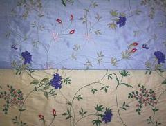 Double Shade Embroidered Silk Fabric