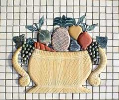 Stone Mosaic Fruit Basket Tile