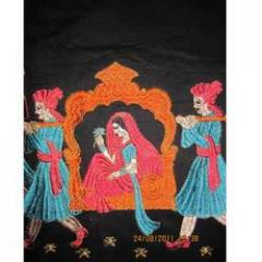 Saree Embroidery with Applique Work