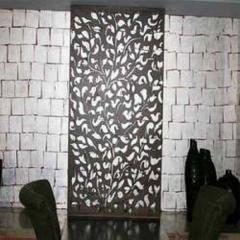 Silver Leafing Brick Pattern In Office