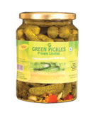 Glass jars and cans gherkins