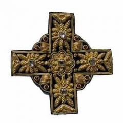 Golden Black Cross Design with Stone Work