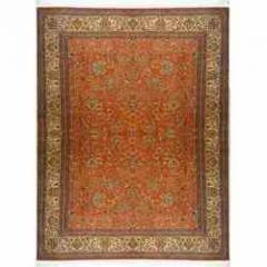 Kashmir Silk Rugs - Red-Cream All-Over-Floral
