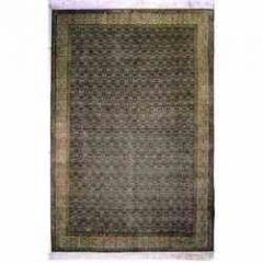 Kashmir High Knotted Silk Rugs - Blue-Cream Sennah