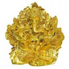 Gold Ganesh Idol on Leaf