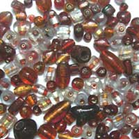 Small Silver Foil Glass Beads