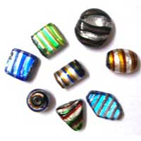 Striped Silver Foil Glass Beads