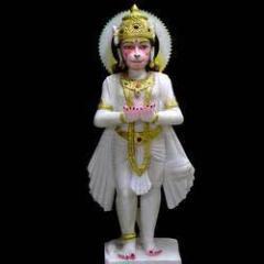 Hanuman in White Marble