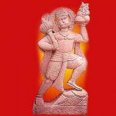 Hanuman in Red Stone