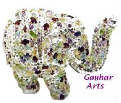 Gemstone Carved Elephant Statue