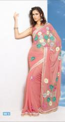 Peach Faux Chiffon Saree