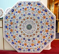 White marble octagonal table top