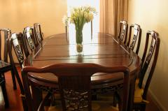 DINING TABLE IN ROSEWOOD SET OF 7 PCS - (SOLD)