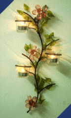 Crystal Flower & Glass Leaves Votive