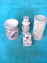 Carved Soapstone Candle Holder And Lamp