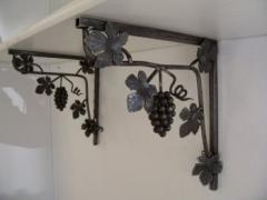 Wrought iron handicrafts, coloured glass items,