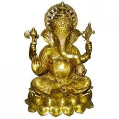 Brass Lotus Ganesh