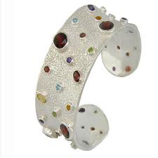 Silver Bangles with Semi-Precious Stones