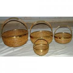 Brass Decorated Cane Baskets