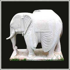 Marble Elephant Figure