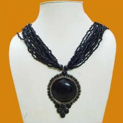Multi Stranded Necklace with Black Pendant