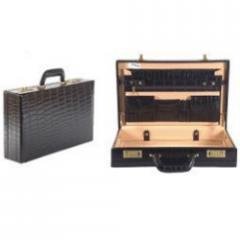 Croc Print Leather Briefcase