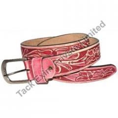 Pink Braided Leather Belt