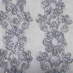 Silver thread embroidered fabric