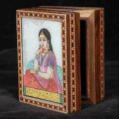 Wooden Gem Stone Painted Carved Box