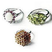 Stone Studded Silver Rings