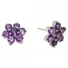 Flower Shaped Amethyst Silver Earrings