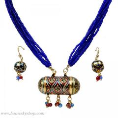 RAJASTHANI LACQUER BLUE JEWELLERY NECKLACE SET 104