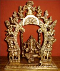 Lord Ganesha Brass figurine seated on marvelous